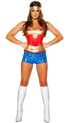 Sexy Super Heroine women's Halloween Costume Modern Wonder Woman corset & Shorts