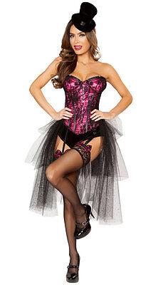 Roma Deluxe Burlesque Girl Strapless Corset Pink/Black Costume 4826