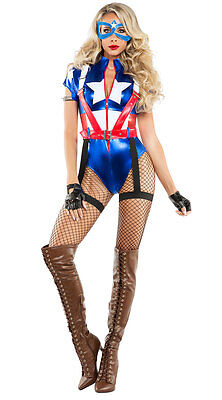 Sexy Starline Captain USA America Metallic Bodysuit Super Hero Costume - Captain America Super Hero Kostüm