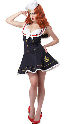 Pin Up Sailor Girl Costume Navy Uniform Womens Ladies Fancy Dress Outfit 8 - 26