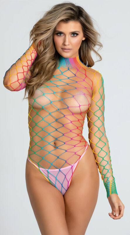 One Size Fits Most Womens Dream In Color Fence Net Bodysuit