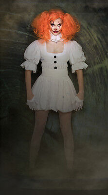 Women's Pennywise Costume Cosplay Scary Clown Halloween Fancy Dress M,XL - Scary Female Clown Costume