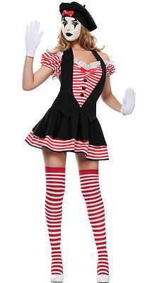 Adult Lady Mime Artist Costume Silent Movie Halloween Ladies Fancy Dress Outfit ()