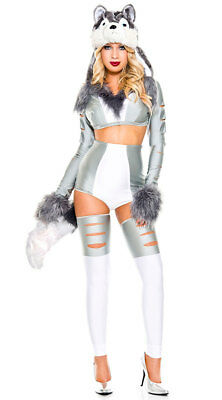 Music Legs Sexy Silver Wild Wolf Costume Woman Thigh Highs Fur Hood XS-S/M-M/L (Halloween Wolf Music)