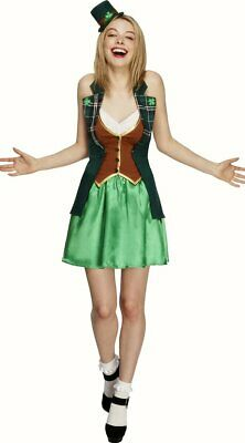 Ladies St Patricks Day Fancy Dress costume Womens Green Top Skirt Hat ()
