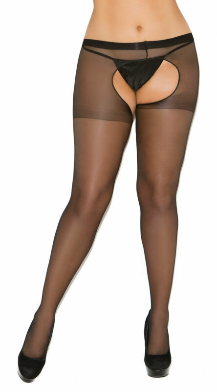 Plus Size Womens Plus Size Sheer Crotchless Pantyhose