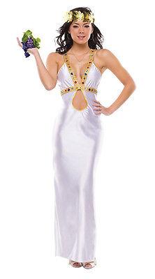 GREEK GODDESS WHITE & GOLD ADULT HALLOWEEN COSTUME WOMEN'S SIZE MEDIUM/LARGE - White Gold Dress Halloween