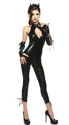 Cat Woman Cosplay Costume Sexy Black Leather for  Party Halloween and show - Black Cat Halloween Costumes For Women