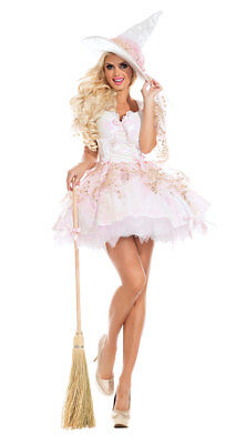 Sexy Party King White Magic Witch Pink & White Sequin Dress Deluxe Costume (Witch King Kostüm)