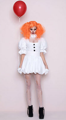 L DANCING SEWER CLOWN COSTUME Costume IT White Dress NEW](Scary Female Clown Costume)