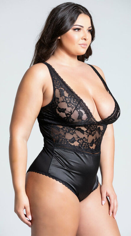 Womens Plus Size Yvette Satin And Lace Teddy