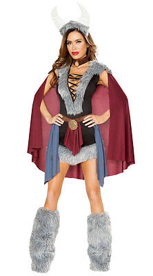Roma Shield Maiden Viking Warrior Dress 5Pc Faux Fur Costume 4801