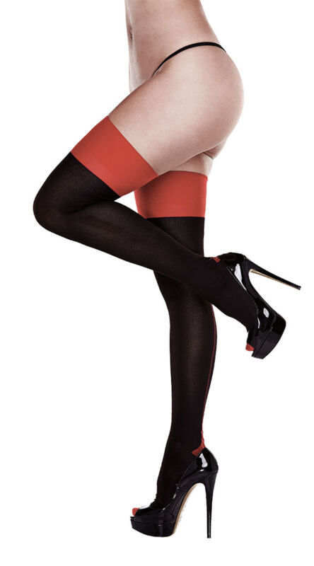 Queen Womens Plus Size Black And Red Cuban Heel Thigh Highs, Plus Size Black And