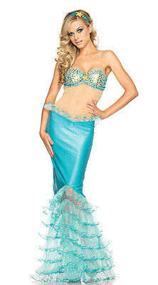 Mermaid Adult Costume Aqua Blue Sea Princess Dress For Halloween Cosplay & Party