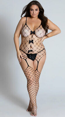 Plus Womens Plus Size Diamond Net Bodystocking, Plus Size Fishnet Bodystocking
