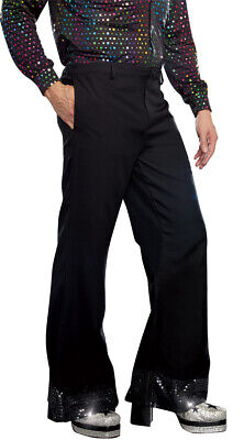 Halloween Costumes With Pants (Medium Womens Men's Disco Pants With Sparkling Cuffs, Mens Halloween)