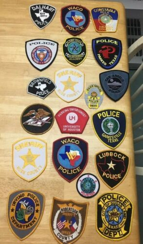 NICE LOT OF 20 TEXAS POLICE  SHOULDER PATCHES  TX02