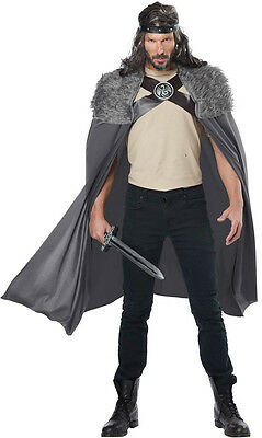 Dragon Master Slayer Gray Men's Cape Halloween Costume Faux Fur Trim ONE SIZE](Halloween Costume Cape)