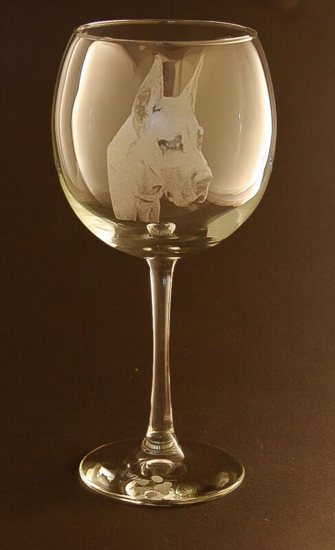 New! Etched Great Dane on Large Elegant Wine Glasses - Set of 2