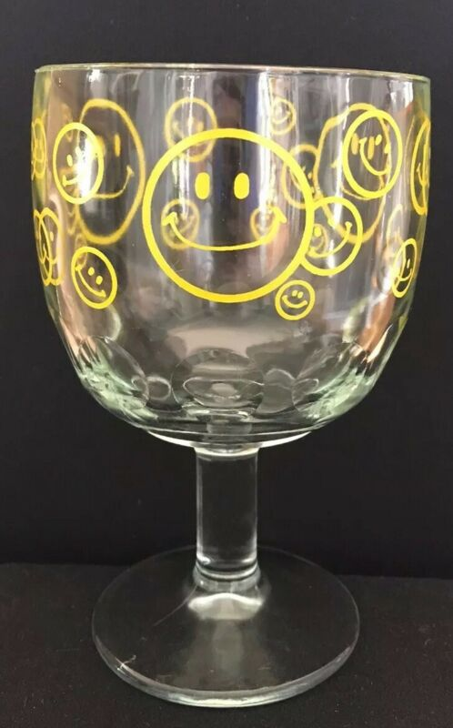 Vintage Thumbprint Drinking Glass Goblet Yellow Smiley Face