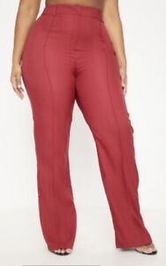 Plus - Straight Leg Pants (Bright-Burgundy)