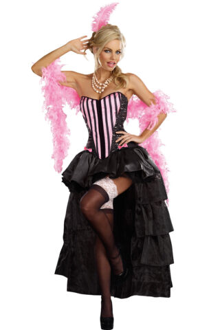 This burlesque showgirl dress has adjustable/removable straps with attached black layered burlesque bustle skirt - the skirt is very short at the front and ...  sc 1 st  eBay & Naughty in Paris Burlesque Cabaret Showgirl Saloon Girl Costume ...