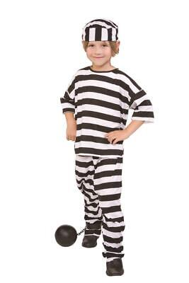 CHILD PRISONER CONVICT BOY JAILBIRD BLACK WHITE STRIPE KIDS GIRLS COSTUME  - Boys Convict Costume