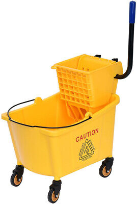 Mop Bucket With Side Press Wringer Wheels 31 Quart Yellow Plastic Cleaning