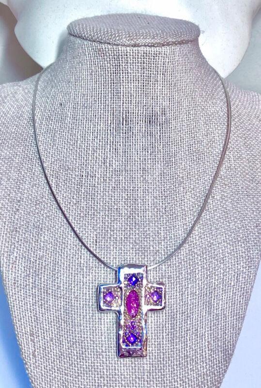 Vintage Orit Schatzman Ornate Sterling Silver & Faceted Stone Cross Necklace