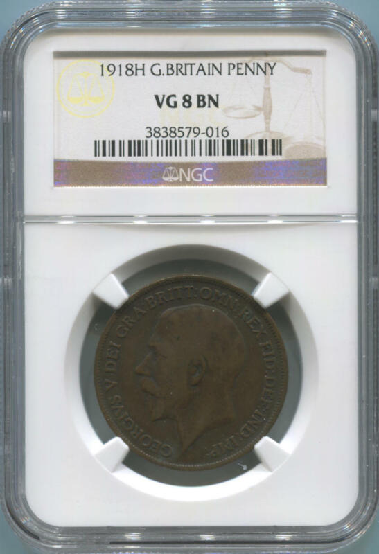 """1918H Great Britain Penny, NGC VG 8 BN Brown. George V. RARE WITH """"H""""!"""