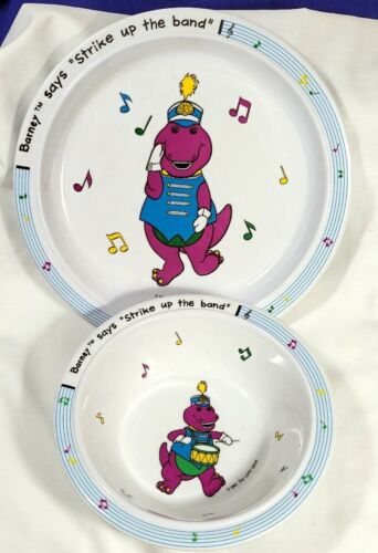 Barney The Dinosaur STRIKE UP THE BAND Plate & Bowl 1992 Selandia