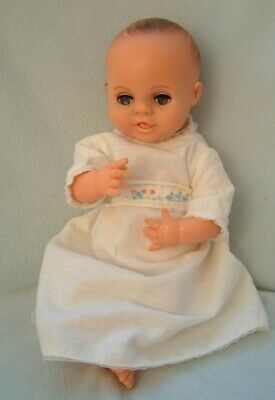 "Vintage 60s 70s MIE baby doll - 13"" - blue eyes - Faerie Glen nightie & nappy"