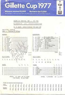 Glamorgan v Leicestershire 1977 Signed Cricket Scorecard Gillette Cup, St Helens