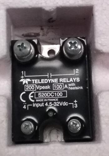 Teledyne s20dc100 relay SSR 100A 200Vdc NEW