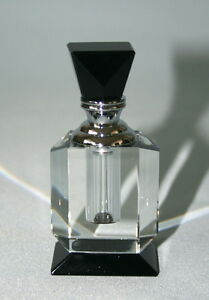 Art Deco Style Clear & Black Crystal Glass Perfume Bottle -Gift Boxed.