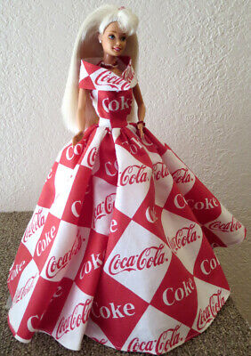 OOAK for standard BARBIE ~ COCA-COLA COKE GOWN & STOLE + JEWELRY