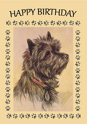CAIRN TERRIER DOG HEAD STUDY BIRTHDAY GREETINGS NOTE CARD