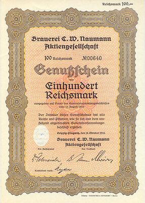 Leipzig-Plagwitz Brauerei C.W. Naumann Genußschein 100 RM 1933