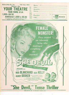 She Devil Original Press Sheet Vintage USA 1950's Female Monster Horror