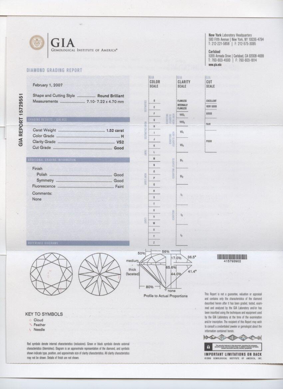 1.52 Carat Loose H / VS2 Round Brilliant Cut Diamond GIA Certified