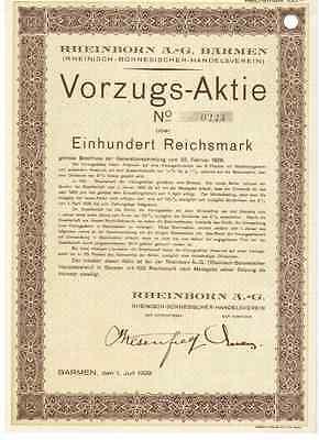 Rheinborn AG (Rheinisch-Bornesischer- Handelsverein) Barmen  1929 Wuppertal