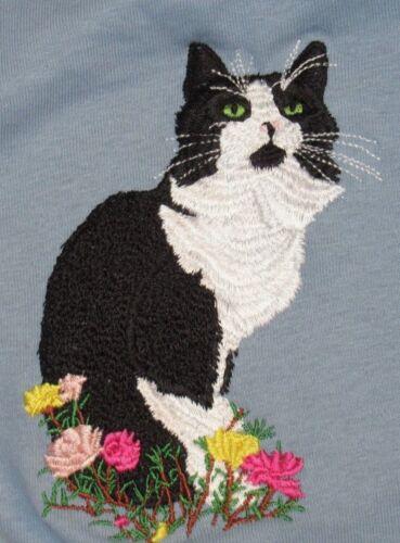 Embroidered Sweatshirt - Black & White Tuxedo Cat I1056 Sizes S - XXL