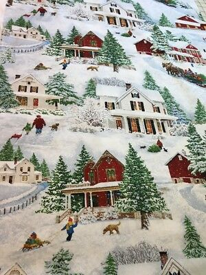 Bringing Home Christmas scenic cotton coordinating Fabric Wilmington per yard
