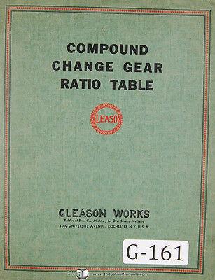 Gleason Generator Machinescomound And Roll Change Gear Ratio Tables Manual