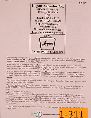 Logan Lp-95 Lathe Parts And Accessories Manual