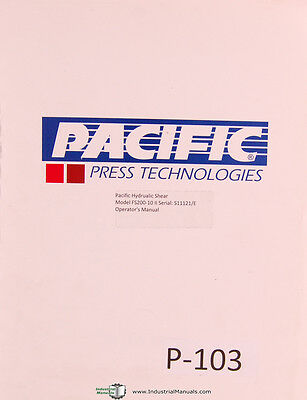 Pacific Model E Hydraulic Shear Operators Wiring And Maintenance Manual