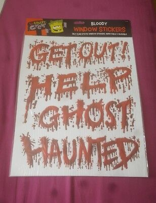Halloween Bloody Window Stickers Scary Party Decoration free uk p&p  - Halloween Decorations Scary Uk