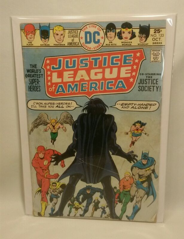 ☆ VINTAGE DC COMICS JUSTICE LEAGUE OF AMERICA #123 OCT 1975 JUSTICE SOCIETY F/SH