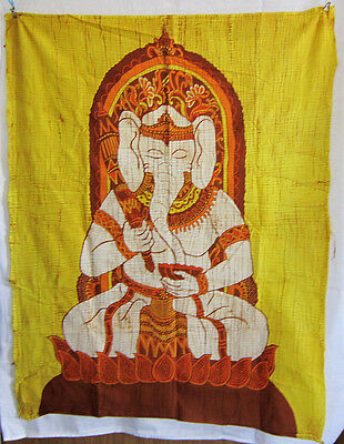 Original Batik Tuch Wandbild GANESHA Ganapati Indonesien Hindu Trance Hippie neu