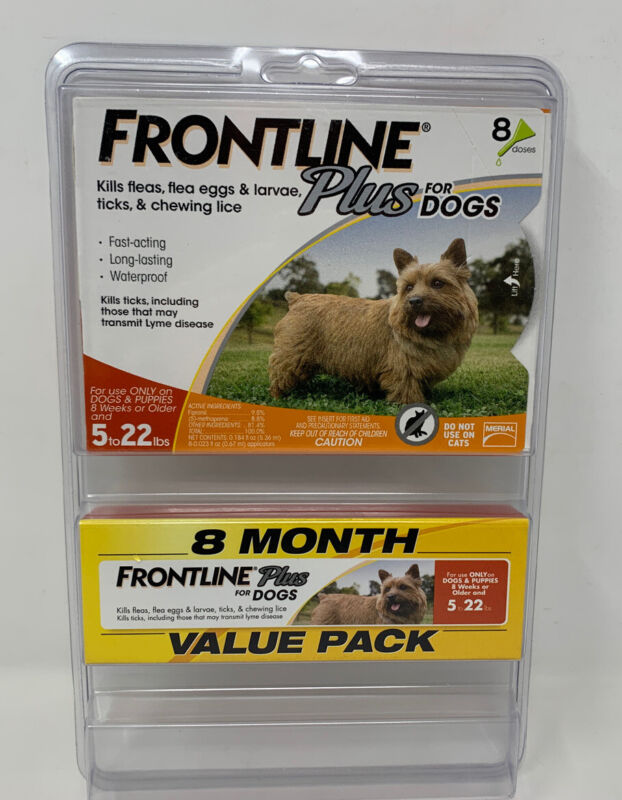 Frontline Plus Flea & Tick Treatment for Dogs 5-22 lbs. 8 Doses (A TO)